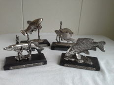 Five miniature silver-plated fish
