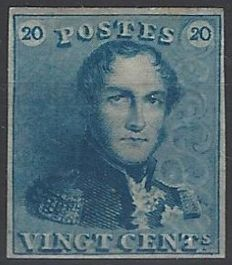 Belgium 1849 - King Leopold I type 'Epaulettes' 20c blue plate II - OBP no. 2A with certificate by Pierre Kaiser 18/09/17