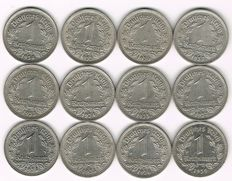 Third Reich - 1 Reichsmark 1933 D, G, 1934 A, D, E, G, 1935 A, 1936 E, F, 1937 A, F, 1939 A, 12 coins, all different