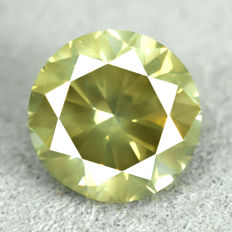 Diamond – 1.00 ct, VS2 – NO RESERVE PRICE – Natural Fancy Vivid Greenish Yellow