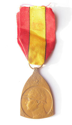 Belgium - war Commemorative Medal 1914-18 on original ribbon