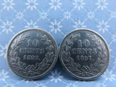 The Netherlands - 10 cents 1892 and 1897 Wilhelmina - silver