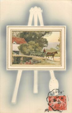 "Novelty postcards with themes ""Paintings of landscaped"" - lot of 100 old postcards"