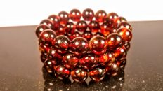 Set of 3 Cherry colour Round modified beads Baltic amber bracelets, hole ca. 56 mm, 55 grams