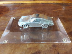 Original Porsche 911 Carrera model from 925 Sterling Silver (152 g) on trapezoid base of transparent acrylic - rare