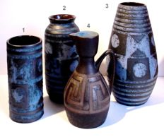 Lot with four West Germany decorative vases Carstens Tonnieshof and Ceramano Hans Welling
