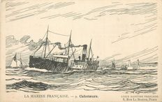 French Navy -  Lot with 18 old postcards - drawing of Haffner