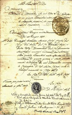Manuscript; Certificate of baptism that took place in the parish of Montale (Modena) with the original signature of the last Minister of Foreign Affairs of the Duchy of Modena Giuseppe Forni