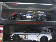 Spark  - Scale 1/43 - Lot with 2 models: Bentley Continental GT3 10th Macau GP GT Cup 2014 #55 & P4/5 Competizione No.1 24h Nurburgring 2012 #180