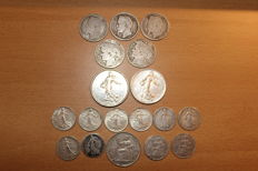 France and French Indochina - Lot of 18 coins 1868/1962 - Silver