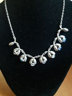"Vintage, Danish designer ""Hermann Siersbol"", Sterling Silver and iridescent (Aurora Borealis) stones Necklace, Denmark"