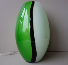 Unknown designer for EGLO - large glass table lamp in torpedo shape model Empori - green variety