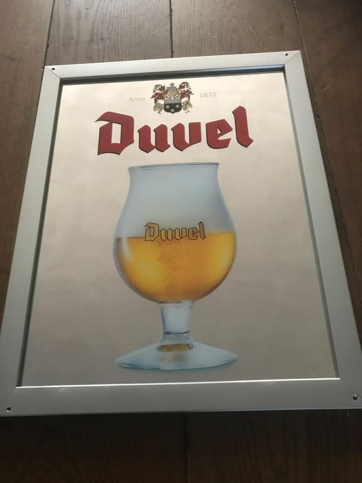 beautiful Duvel beer advertising mirror with metal frame and 2 x metal tray