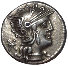 Roman Republic - Q. Minucius Philippus - AR Denarius (Silver, 17mm, 3,89gm), mint of Rome c. 129 BC - Head of Roma / Horseman - Cr. 259/1