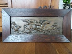 Large bronze relief plaque with a hunting scene - France - 1st half of the 20th century
