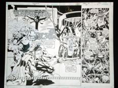 Josh Hood - x4 Original Art Pages - Superman: Man of Steel #124 - Double Page Spread (2002) - with extras