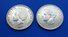 Spain - Lot with two 5 peseta coins, Alfonso XII 1893 *18*93 Madrid PG L and 5 pesetas 1898 *18*98 Madrid SG V