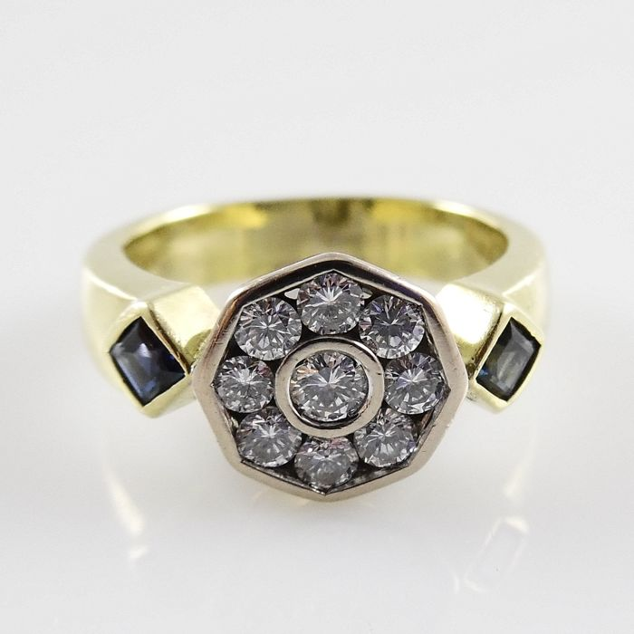 Ring - Gold - 0.51 ct - Diamond and Sapphire