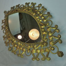Gilded eye shaped iron mirror, Spain, 1960s