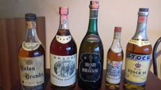 Brandy Buton & Brandy Old Piemonte & Brandy of Borgogne & Brandy Stocck 84 & Brandy SIS Superior Quality - 5 bottles in total