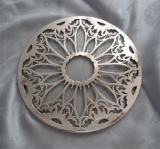 Sterling silver on glass tea pot trivet stand coaster, Daniel & Arter, Birmingham, 1924