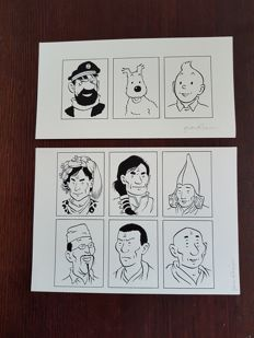 Rodier, Yves - Original drawings on the flyleaf - An adventure of Tintin - Le Prisonnier du Dragon Rouge