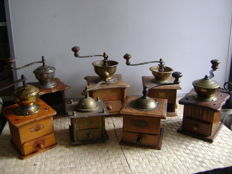 Collection of 7 old coffee grinders