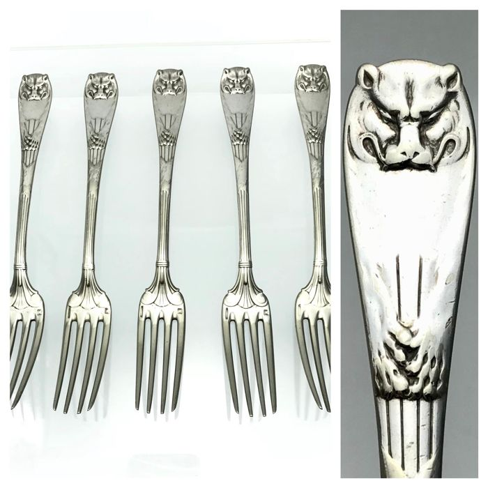"Christofle ""Peau de Lion"" set of 5 forks - ca. 1880 - RARE"