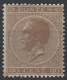Belgium 1865 - 'King Leopold I in profile' - 30 cent bister brown with perforation 15 - OBP 19A