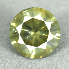 Diamond - 1.57 ct, NO RESERVE PRICE - VG/VG/VG - Natural Fancy Intense Greenish Yellow