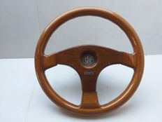 Old wooden steering wheel