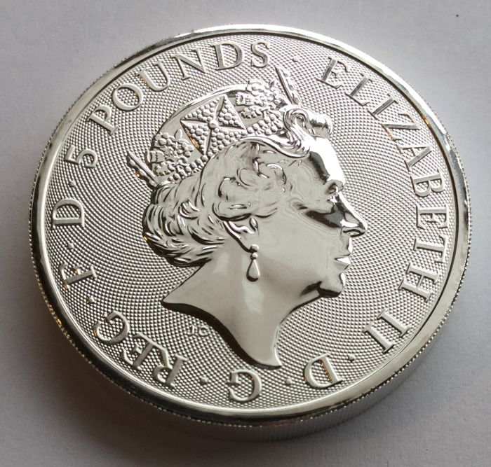 Great Britain - 5 pounds 2018 'The Oueen's Beasts - Unicorn of Scotland ' - 2 oz silver coloured