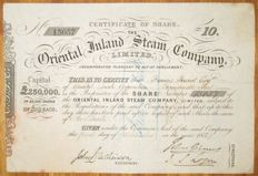 UK / India - 	Oriental Inland Steam Company - Share Certificate 1859