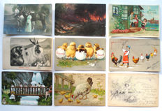 Fantasy 120 x - better cards - including illustrators, folk costumes, actresses, piglets, relief, lithography, Easter, angels, horses ...