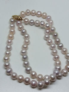 Vintage natural 65 matched freshwater cultured pink pearls with 14K ornate clasp makers stamp 14k stamp knotted necklace