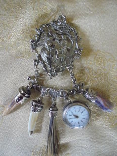 Traditional belt plug for men and women made of 0.800 silver, antique, around 1910-1925 with a silver women's watch and Charivari pendant