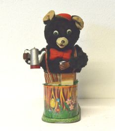 TN/Rosko, Japan - height cm 25 - Maxwell Coffee Loving Bear - tin toy - automaton - 1950s