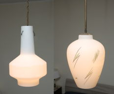Unknown designer - 2 pendant lights in opaline glass