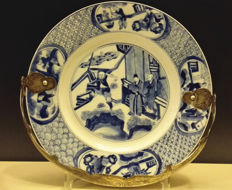 Kangxi blue and white porcelain plate with silver handle. -17th century