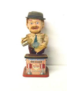 TN, Japan - height cm 30 - Charley Weaver, The Bartender - tin toy - automaton - 1950s