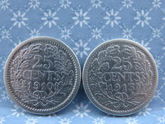 The Netherlands - 25 cents 1910 and 1913, Wilhelmina - silver