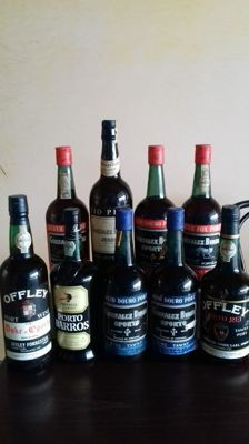 Sherry and Port Wine - 9 old bottles