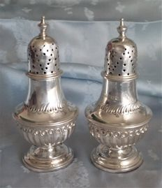 Pair of Victorian sterling silver salt & pepper pots, James Dixon & Sons, Sheffield 1894