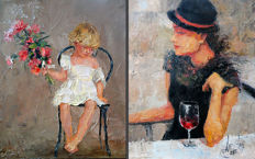 Alpatova-Fedchenko Larissa (1961*) - Girl with flowers & Girl in the black hat (2)