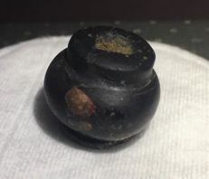 Obsidian/Hematite Kohl pot - 15 mm