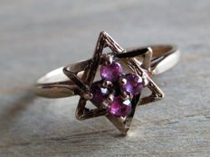 "Handmade Gold ""Star of David"" ring with 4 x natural Ruby (approx. 0.08 ct). Size: 18.25 No Reserve Price!"