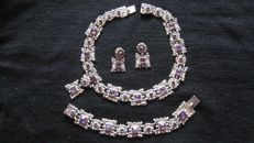 Extremely fine solid silver jewellery set, Amethysts, vintage, 1960