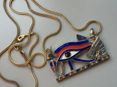 Vintage necklace Egypt, all-seeing eye with enamel, ARS MUNDI in orginal cassette / 46 grams, no reserve