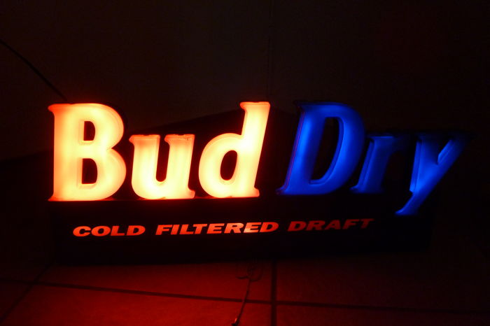 Light box for Bud dry cold filtered draft - 1990