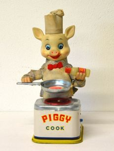 Yonezawa, Japan - height cm 27 - Piggy Cook - tin toy - automaton - 1950s